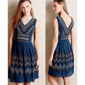 Anthro- Meadow Rue   Blue Beaded Chevron Dress